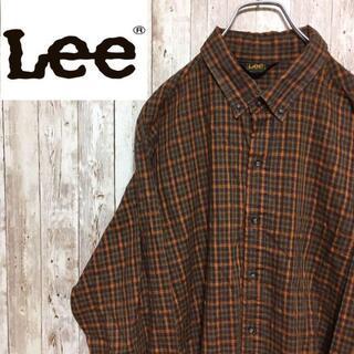 アイスクリーム(EYESCREAM)の○Lee○ USA製 アメリカ古着 長袖 チェックシャツ ブラウン メンズ(シャツ)