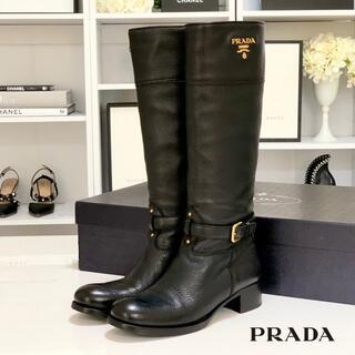 PRADA - 2403 プラダ レザー ロングブーツ ブラック