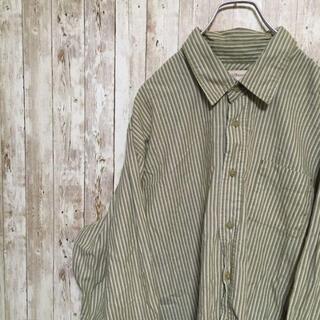 ラングラー(Wrangler)の○ラングラー○ アメリカ古着 ビックサイズ 長袖シャツ ストライプ カーキ(シャツ)