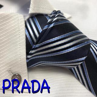 PRADA - プラダ ネクタイ【未使用に近い】PRADA  ストライプ柄 光沢 ネイビー系