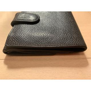 CHANEL - CHANEL 二つ折り 財布 キャビアスキン 黒