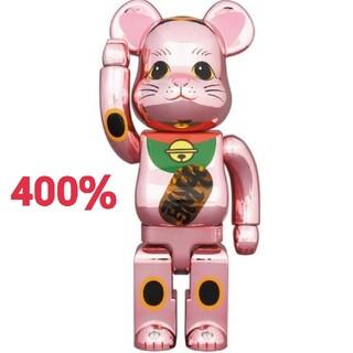 メディコムトイ(MEDICOM TOY)のBE@RBRICK ベアブリック 招き猫 桃金メッキ 発光 400%(その他)