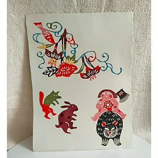 イデー(IDEE)の柚木沙弥郎  和紙の型染絵『金太郎』 #民芸 #民藝(その他)