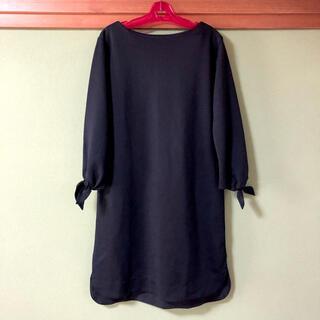 ワンピース リボン付き ブラック 黒 シンプル ナチュラル 可愛い ミニ(ひざ丈ワンピース)