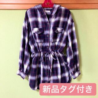 レディース ネルシャツ オーバーサイズシャツ チュニック フード付き チェック柄(シャツ/ブラウス(長袖/七分))
