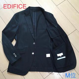 エディフィス(EDIFICE)の極美品★エディフィス×リネン混◎上質ブラックアンコンジャケット 黒 A817(テーラードジャケット)