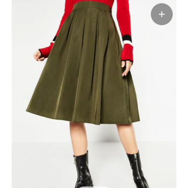 14841f94043a53 ZARA - ZARA カーキ ミモレ丈 スカートの通販 by shop|ザラならラクマ