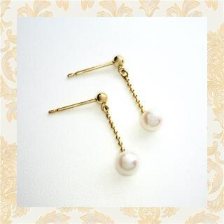 パール  真珠ブラピアス 18金 イエローゴールド ピアス(ピアス)
