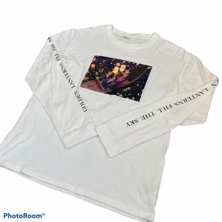 ディズニー(Disney)の【レア】アナと雪の女王 ロンt プリント 長袖 ロングtシャツ ディズニー 白(Tシャツ/カットソー(七分/長袖))