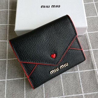 miumiu - 黒❣miumiu 三つ折り財布 コインケース