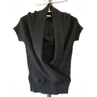 サマーニット レディースL ブラック 半袖(カットソー(半袖/袖なし))
