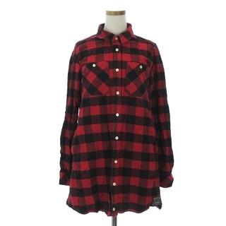 エックスガール(X-girl)のエックスガール シャツ 長袖 胸ポケット チェック バックロゴ 刺繍 赤 黒 2(シャツ/ブラウス(長袖/七分))