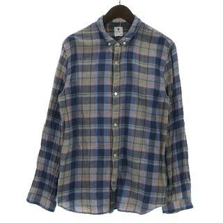 アールニューボールド(R.NEWBOLD)のアールニューボールド シャツ 長袖 ボタンダウン チェック ブルー XL(シャツ)