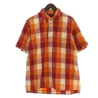 アールニューボールド(R.NEWBOLD)のアールニューボールド シャツ 半袖 胸ポケット チェック オレンジ L(シャツ)