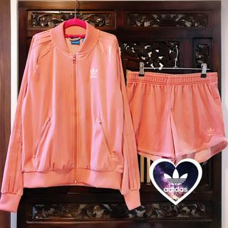 adidas - アディダス くすみピンク ベロア ジャージ セットアップ パンツ ブルゾン