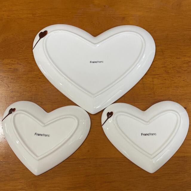 Francfranc(フランフラン)のフランフラン LOVEハートプレート 3点セット インテリア/住まい/日用品のキッチン/食器(食器)の商品写真