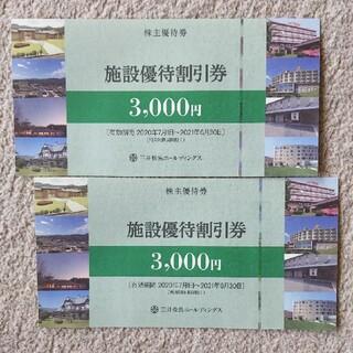 2枚✕3000円 施設優待割引券 三井松島 株主優待(その他)