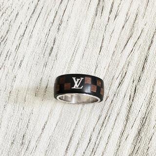 LOUIS VUITTON - 正規品 ヴィトン 指輪 ダミエ ウッド 木 シルバー 市松模様 58 リング 黒