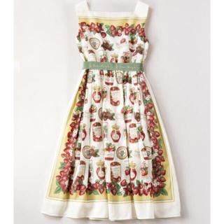 ジェーンマープル(JaneMarple)のJaneMarple Strawberry label scarf 苺 ドレス(ひざ丈ワンピース)