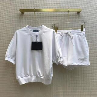 プラダ(PRADA)のPRADA★トライアングルロゴ プリントジャージー Tシャツ(Tシャツ(半袖/袖なし))