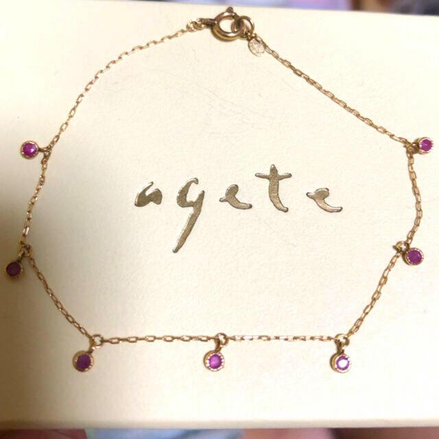 agete(アガット)の【未使用】アガット ドリーミードリーミーブレスレット ルビー K10 agete レディースのアクセサリー(ブレスレット/バングル)の商品写真