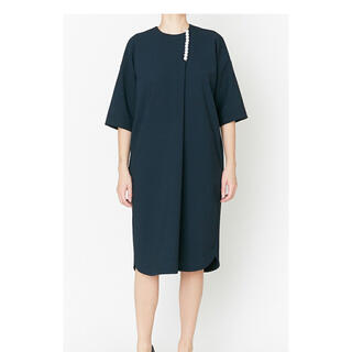 BARNEYS NEW YORK - YOKO CHAN H-line Pearl Dress navy 36