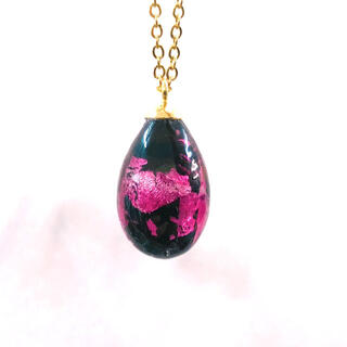 蓄光 ホタルガラス しずくステンレスネックレス ステンレスチェーン ピンク(ネックレス)