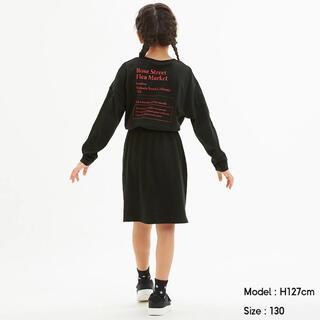 GU - 【中古】GU GIRLSバックプリントTワンピース(長袖) 140