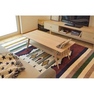 【送料無料・新品未使用】センターテーブル 収納付き 北欧 人気 ナチュラル(ローテーブル)