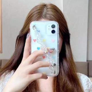 アップル(Apple)の次回発送4/21☆ iPhone11ケース ハートのクリアケース チェーン付☆(iPhoneケース)