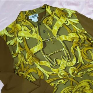 エルメス(Hermes)のHERMES ヴィンテージ シルク100%×カシミア×コットン 長袖ニットシャツ(シャツ/ブラウス(長袖/七分))