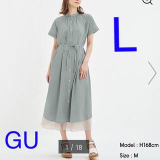 GU - 【新品】GU  バンドカラーギャザーワンピース(半袖)グリーン  L