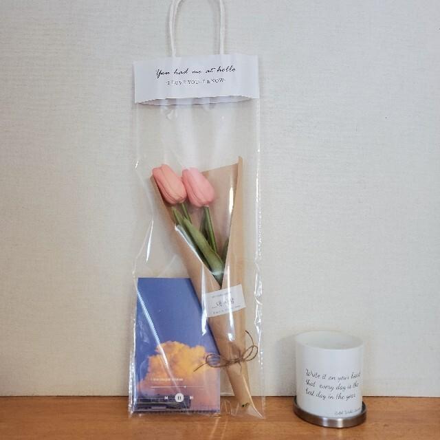 Francfranc(フランフラン)の韓国 チューリップ 花束 ハガキつき ハンドメイドのフラワー/ガーデン(ドライフラワー)の商品写真