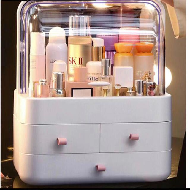 新品 コスメ収納ボックス メイクボックス スタンド3段 持ち運び ホワイト コスメ/美容のメイク道具/ケアグッズ(メイクボックス)の商品写真