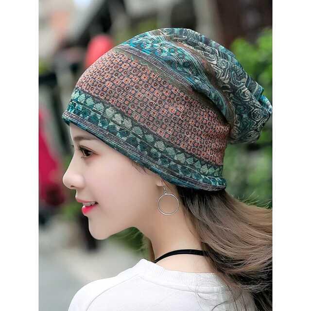 レディース エスニック柄 3way 帽子 ネックウォーマー レディースの帽子(ニット帽/ビーニー)の商品写真