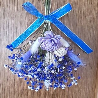 ブルーがかわいいかすみ草のスワッグ(ドライフラワー)