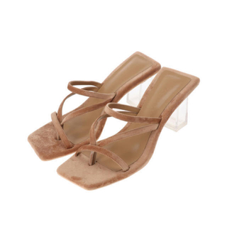 ALEXIA STAM - Velour Clear Heel Sandals Beige