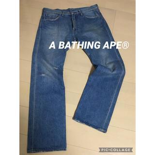 A BATHING APE - 【綺麗!トレンド】A BATHING APE エイプ 人気のダメージ加工デニム