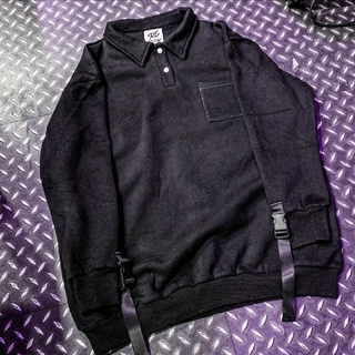 ミルクボーイ(MILKBOY)のMi × KRY 裏起毛ポロ シャツ ブラック(トレーナー/スウェット)
