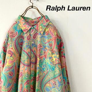 Ralph Lauren - 希少 Ralph Lauren ショッキングカラー ペイズリー柄ロングシルエット