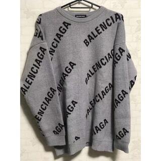 Balenciaga - 良品 BALENCIAGA ニット 灰色黒字 Lサイズ ユニセックス 春物