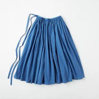 イデー(IDEE)のPOOL いろいろの服 巻きギャザーエプロン インディゴブルー(ロングスカート)