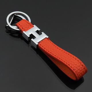 高品質‼️H型ロゴ 本革仕様 キーホルダー/バッグチャーム オレンジ