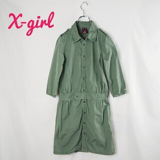 X-girl - X-girl ミリタリーシャツワンピース1  S~Mサイズ カーキ ダメージ加工