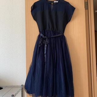 メルロー(merlot)のメルロー 結婚式 ドレス ワンピース ネイビー チュールスカート(ミディアムドレス)