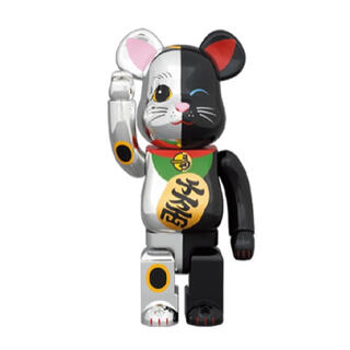 MEDICOM TOY - BE@RBRICK 招き猫 銀×黒 1000%