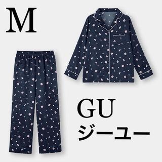 GU - 新品タグ付き☆GUサテンパジャマ上下セット長袖サクラ桜Mネイビージーユーユニクロ