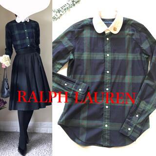 Ralph Lauren - レア!ラルフローレン ロゴ刺繍 タータンチェック シャツ ブラウス 9 S.M
