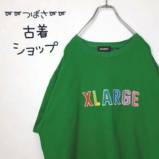 XLARGE - 【レインボーカラー】X-LARGE デカロゴ 古着 刺繍 ゆるだぼ 90s 緑