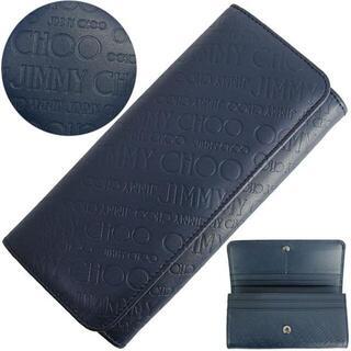 JIMMY CHOO - 2115 ジミーチュウ 二つ折り長財布 ニノ ネイビー レザー